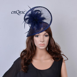 cd7fb25d161 BIG navy blue two sides Sinamay fascinator feather wedding hat fedora in  SPECIAL shape for Kentucky Derby
