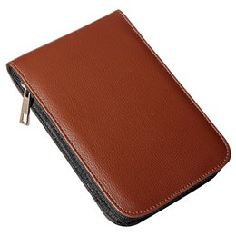 Discount stationery leather - Wholesale- Affordable Fountain Pen Roller Brown Leather Binder Case Holder Stationery for 12 Pens