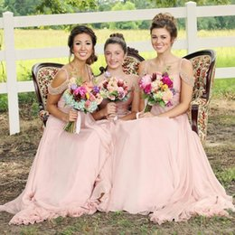 Discount beaded royal train wedding dresses - New Sexy Blush Pink Bridesmaid Dresses 2017 A Line Beaded Cap Sleeves Backless Long Chiffon Dresses for Summer Garden We