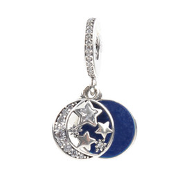 $enCountryForm.capitalKeyWord NZ - Fit Pandora Charm Necklace Original 925 Silver Charm Letter Engraved Charms With Clear Zircon Moon and Star DIY Jewelry Berloque LB157
