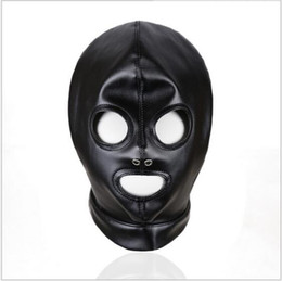 Discount latex fetish hoods mask - Faux Leather Latex Fetish Mask Open Mouth Sexy Mask Spandex Head Bondage Hood Sexy Costumes Erotic Toys Black 2017 Hot N