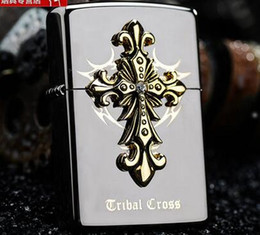 Blade Oil NZ - Wholesale- The original packing box cross windproof lighter kerosene tribe The blade of judgment of black ice Holy angels