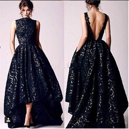 red prom dress lo high 2019 - Arabic Hi Lo Black Lace Evening Dresses Vintage 2017 Occasion High Neck Backless Formal Prom Party Gowns discount red pr