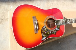 """Guitar Factories Canada - Hot Factory Custom Shop Cherry Sunburst 41"""" Humming Bird HS Spruce Top Maple Back & Sides Acoustic Electric Guitar Free Shipping"""