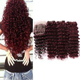 Burgundy wine human hair weave online shopping - Burgundy Lace Closure Deep Wave Brazilian Human Hair Wine Red Raw Deep Curly Ocean Wave j Hair Extension Weave Wavy Bundles With Closure