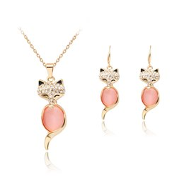 Discount pink pearl fashion jewelry set - fashion crystal necklace earrings Pink Opal fox Jewelry set Rose Gold Color Crystal Set for women Gift cute animal maxi