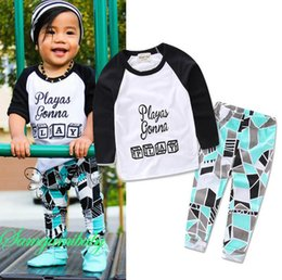 Baby Tshirt Outfit Boys Canada - Ins Infant Baby Boys Set Kids Letters Printed Long Sleeve Tops Tshirt + Geometry Pants Cotton Outfits Children Sets Clothing Suit 12628