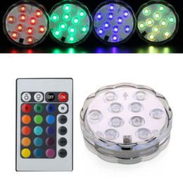 Ingrosso Base illuminante a sommergibile per vaso a LED Batteria a LED impermeabile con luci per acquario con telecomando per lampade di decorazioni per feste nuziali