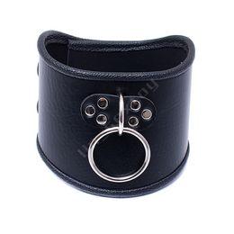 $enCountryForm.capitalKeyWord UK - 520*100mm Choker Black Leather Collar With Pull Ring Adjustable Belt Slave Dog Fetish Bondage BDSM Neck Strap Sex Product