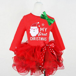 baby kids santa christmas clothing NZ - Girls Christmas Santa letter lace long sleeve bow dress Kids Clothes 2017 Brand Autumn Princess Baby Dresses Children