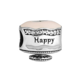 $enCountryForm.capitalKeyWord NZ - woman jewelry finding Happy Birthday Cake Mixed Enamel beads fit pandora charms bracelet & bangle 925 sterling silver jewelry 2017 summer