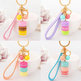 Wholesale Macarons Cake Key Chain Hide Rope Pendant Keychain Car Keyring Baby Shower Party Gifts Wedding Supplies Favors DHL