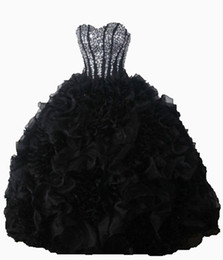 $enCountryForm.capitalKeyWord NZ - 2017 Sexy Black Crystal Ball Gown Quinceanera Dresses with Sequined Beading Organza Plus Size Sweet 16 Dresses Vestido Debutante Gowns BQ31
