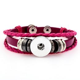 $enCountryForm.capitalKeyWord UK - New 18mm Noosa Button Leather braided bracelet Jewelry Watch Straps Style wristband Bracelets For DIY Snap Buttons