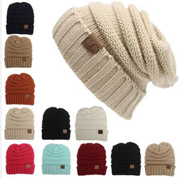 Cc Beanie Wholesale Canada - Winter Knitted Woolen CC Trendy Hat Label  Fedora Luxury Cable Slouchy 2419905e22c