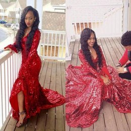 Barato Longo Vestido Vermelho Sequin-Africano Sexy Red Long Sleeves Prom Dresses Long V profundo pescoço Sequins Lace Side Split Mermaid Evening Vestidos 2k17 Vestidos Party Dress