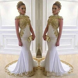$enCountryForm.capitalKeyWord Canada - 2017 Stunning White Long Evening Dresses High Neck Gold Lace Appliques Beaded Satin Mermaid Women Formal Prom Party Gowns