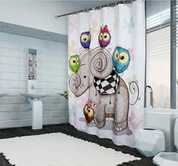 Custom Cartoon Elephant Print Shower Curtain Modern Fabric Bathroom Curtain  Eco Friendly Waterproof Polyester Washable Shower Bath Curtains