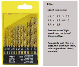 $enCountryForm.capitalKeyWord Canada - 13 Pcs Titanium coating Hole Saw 1.5mm-6.5mm Metalworking Twist Mini Hard Metal HSS Drill Bit Set Tool For thin iron plate thin aluminium sh