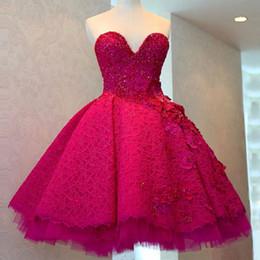 $enCountryForm.capitalKeyWord Australia - Short Fuchsia Lace Prom Dresses 2017 A Line Sweetheart Neck Applique Beads Elegant Mini Prom Gowns