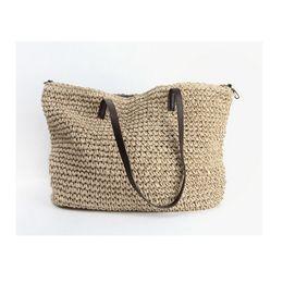 Chinese  Wholesale-Summer Women Durable Weave Straw Beach Bag Feminine Linen Woven Bucket Bag Grass Casual Tote Handbags Knitting Rattan Bags Hobos manufacturers