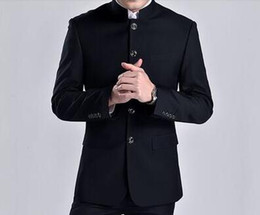 Mens Chinese Tunic Suits Canada - Stage clothing for men chinese tunic suit fashion black grey suits set with pants mens wedding suits formal dress stand collar
