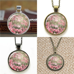 Happiness necklace pendant online shopping - 10pcs Choose Happiness Flowers Necklace keyring bookmark cufflink earring bracelet