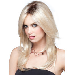 Womens Wigs Canada - WoodFestival long straight wig ombre heat resistant wigs womens synthetic wigs blonde wig dark roots hair 60cm