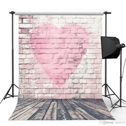 Love Backdrops UK - 5x7ft Vinyl Red Love Heart Brick Wall Wood Floor Photography Studio Backdrop Background