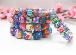 Polymer Bracelets NZ - Mixed order 8mm 10mm 12mm 15mm Colorful clay polymer clay bracelets 20pcs Bohemian beaded bracelets Kid's gift