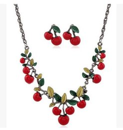 cherry jewelry sets Canada - European Brand New Jewelry Cherry Statement Necklaces Women Lady Fashion Flower Choker Necklace Earrings Party Gift High Quality Jewelry Set