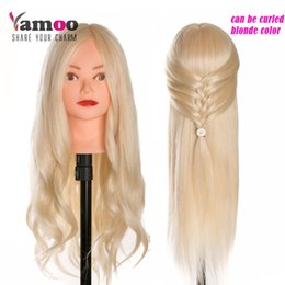 Chinese  40 % Real Human Hair 60 cm Training Head blonde For Salon Hairdressing Mannequin Dolls professional styling head can be curled manufacturers