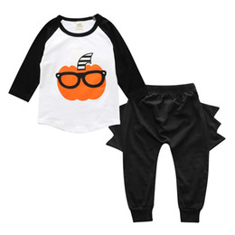 $enCountryForm.capitalKeyWord Canada - Pumpkin Outfits for Baby Boys Halloween Costumes INS Babies Clothes Cute Boy's Clothing Sets Newborn Gift Tee shirt Top and Harem Pants