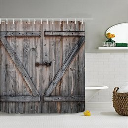 wholesale polyester shower curtain old bronze wooden garage door vintage rustic shower curtain american country style bathroom decor art