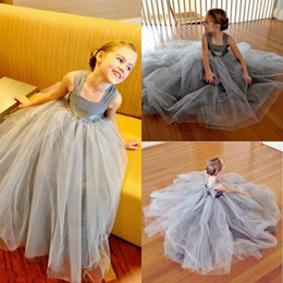 $enCountryForm.capitalKeyWord Australia - Light Gray Tulle Ball Gown Girls Pageant Gowns With Chiffon Straps Cheap Flower Girl Dress For Wedding Baby First Communion Dresses