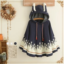 belted cape coat 2019 - Wholesale- 2017 Spring Women Jacket Japanese Style Mori Girl Cute Cartoon Rabbit Ear Loose Hooded Cape Coat Cotton Casua