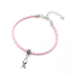 Cancer Hope Charms Australia - Wholesale-50pcs Hope Breast Cancer Awareness Ribbon Charm Pendant Leather Rope Cham Bracelet Fit for European Bracelet Handmade Craft DIY