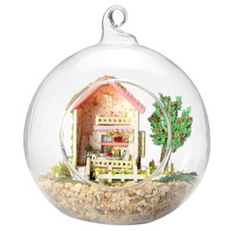 model house kit diy UK - DIY Doll House Furniture Kits Micro-landscape Glass Ball Model Miniature Sweet Home House Wooden Dollhouse Birthday Xmas Gift