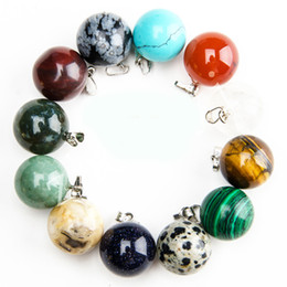 $enCountryForm.capitalKeyWord Australia - Wholesale 50PCS Mixed Color Round Ball Natural Gem Stone Pendant Natural Crystal Agate Charms Pendant For Choker Necklaces