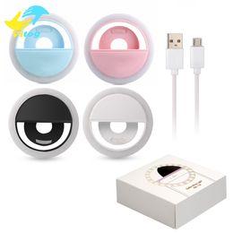 Vente en gros Pour Iphone X Rechargeable Universel Luxe Smart Phone LED Flash Light Lighty Selfie Anneau De Téléphone Lumineux Pour iPhone Android Avec Recharge USB