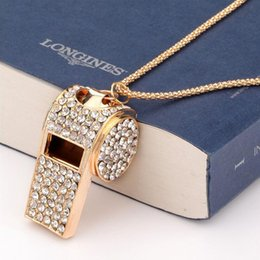 $enCountryForm.capitalKeyWord Canada - Gold Rhinestone Crystal Sweater Chain Pendant Necklace, Fashion Accessories Women Whistle Long Necklaces All-match Free Shipping