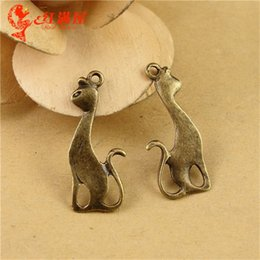 $enCountryForm.capitalKeyWord Canada - 27*11MM Antique Bronze cat kitten charms for bracelet, vintage metal animal-shaped pendants for necklace, diy animal jewelry making findings