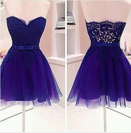 Shorts Personnalisés En Chine Pas Cher-New Arrival 2017 Purple Lace And Tulle Short Homecoming Robes Cheap Sweetheart With Sash Mini Party Gowns Custom Made China EN7032