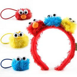 Sesame Street Super Cute Hair Ball Head Hoop Ring Cartoon Characters Headdress Rope Headband