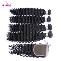 malaysian curly hair closure piece 2019 - Malaysian Straight Virgin Hair With Closure Top 8A Unprocessed Virgin Human Hair deep curly body Weaves Closure 4 Bundle