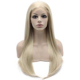 "$enCountryForm.capitalKeyWord Canada - 24"" Long Ash Blonde Silky Straight Half Hand Tied Heat Resistant Synthetic Fiber Lace Front Fashion Wig S02"