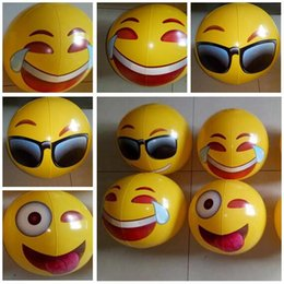 """inflatable cartoon toys 2018 - Ball Toys Swimming Pool Emoji Beach Ball For Adults Kids Inflatable PVC 8"""" Family Holiday Summer Party Favors 50pcs"""