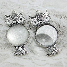 $enCountryForm.capitalKeyWord NZ - 5set Antique silver Metal crown owl Fit 25mm Round Cabochon Pendant Setting Vintage Blank Charms + Clear Glass Cabochons A4119-1