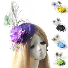 $enCountryForm.capitalKeyWord Canada - 6pcs lot ladies headwear bridal wedding party proms fancy dress accessory mini pillbox hat flower feather fascinator hair clip