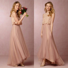 Crop gowns online shopping - 2017 Vintage Blush Pink Two Pieces Bridesmaid Dresses Lace Crop High Low Beach Bridesmaid Dress Prom Party Gowns